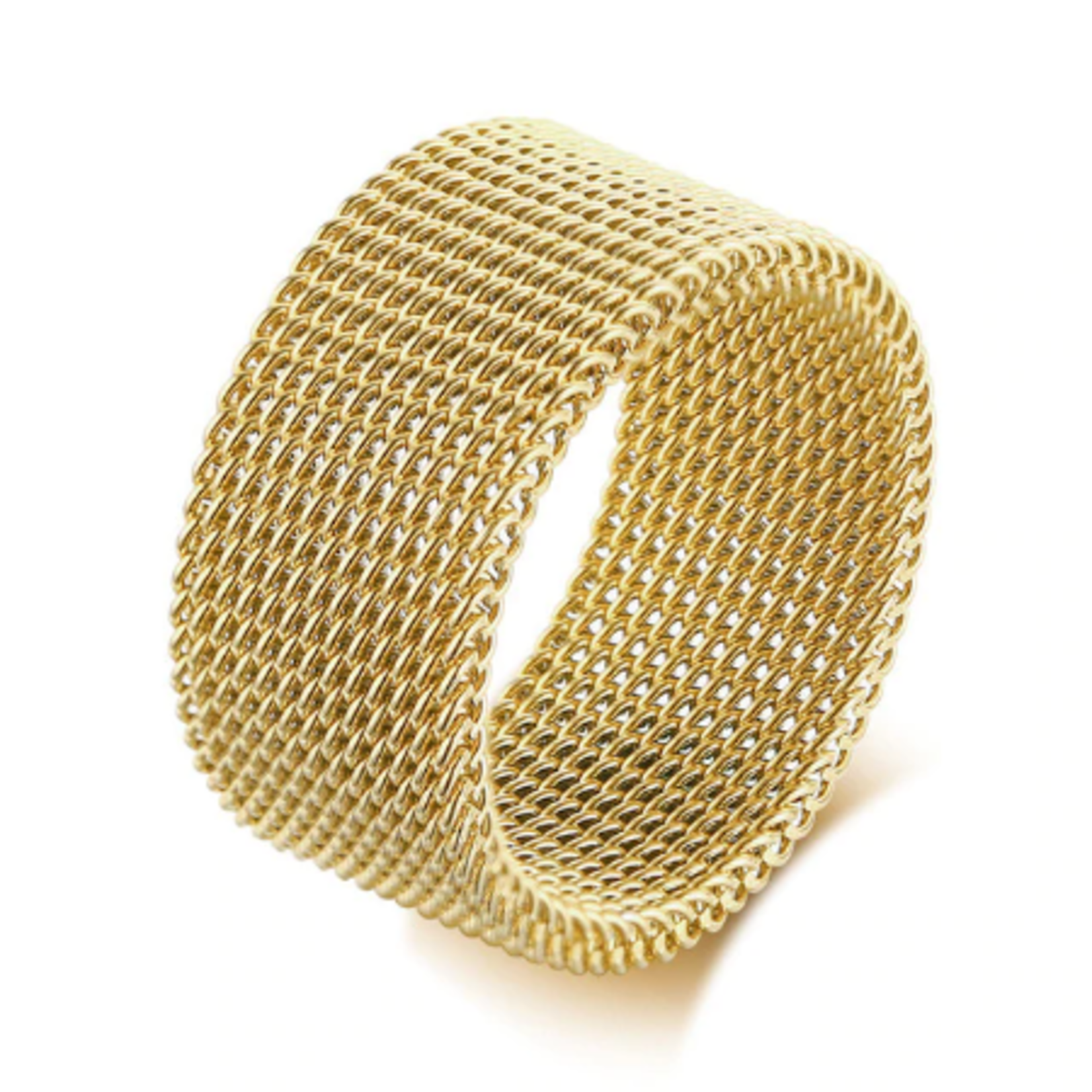 Wyld Blue Mesh Ring Gold (Thick)