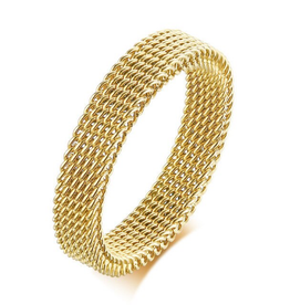 Wyld Blue Mesh Ring Gold (Thin)