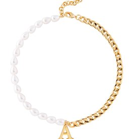 Martha Calvo Pearl and Chain Initial Necklace