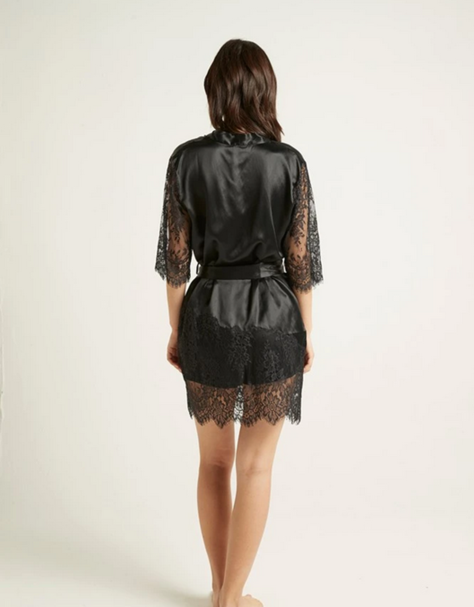 Ginia Blaise Silk Robe with Lace - Black Onyx