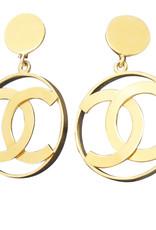 Chanel Chanel Logo-in-Hoop Earrings (1970s Vintage)