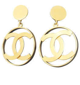 Chanel Chanel Logo-in-Hoop Earrings (1970s Vintage)
