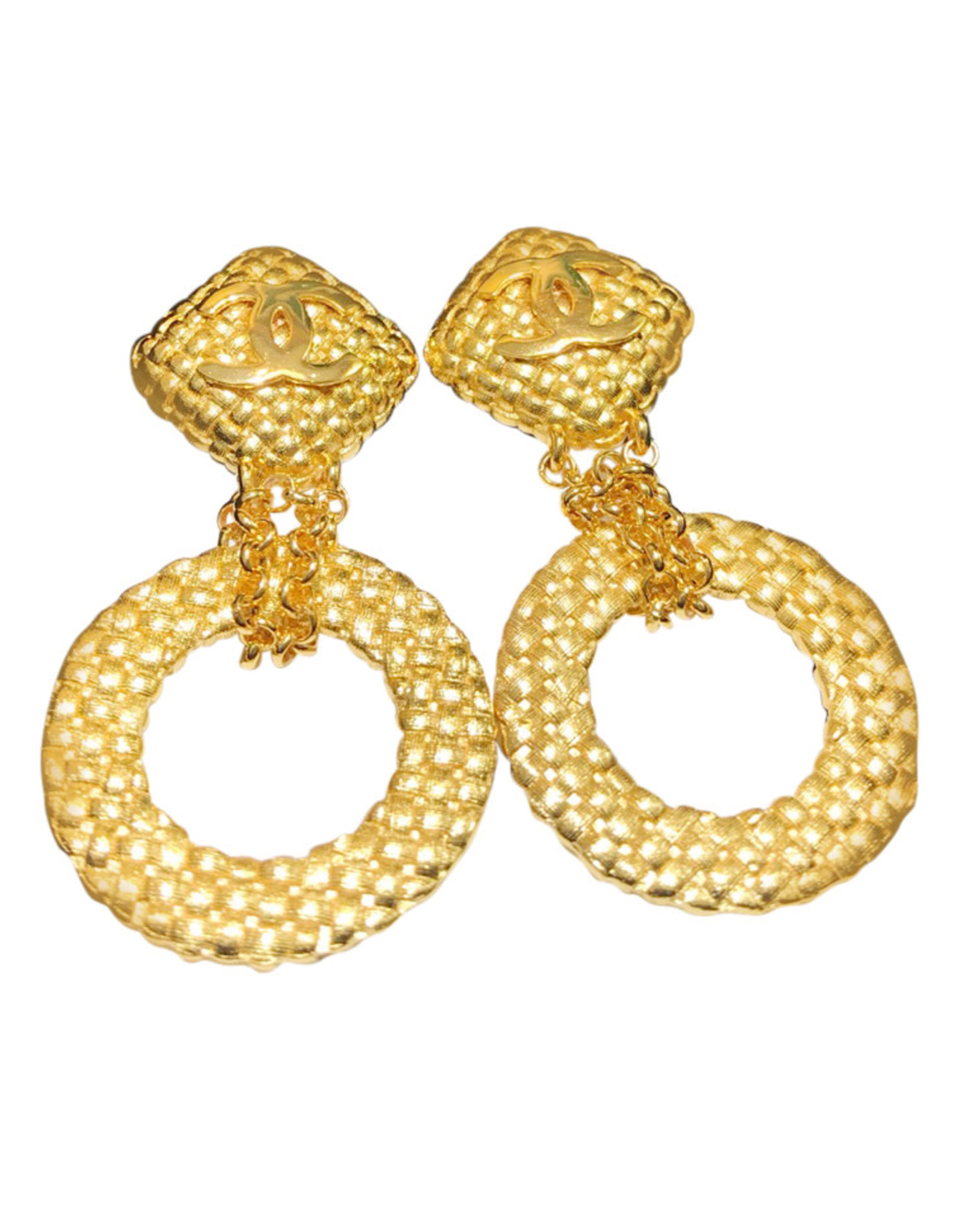 Chanel Chanel Quilted Hoop and Chain Earrings (1992 Vintage)