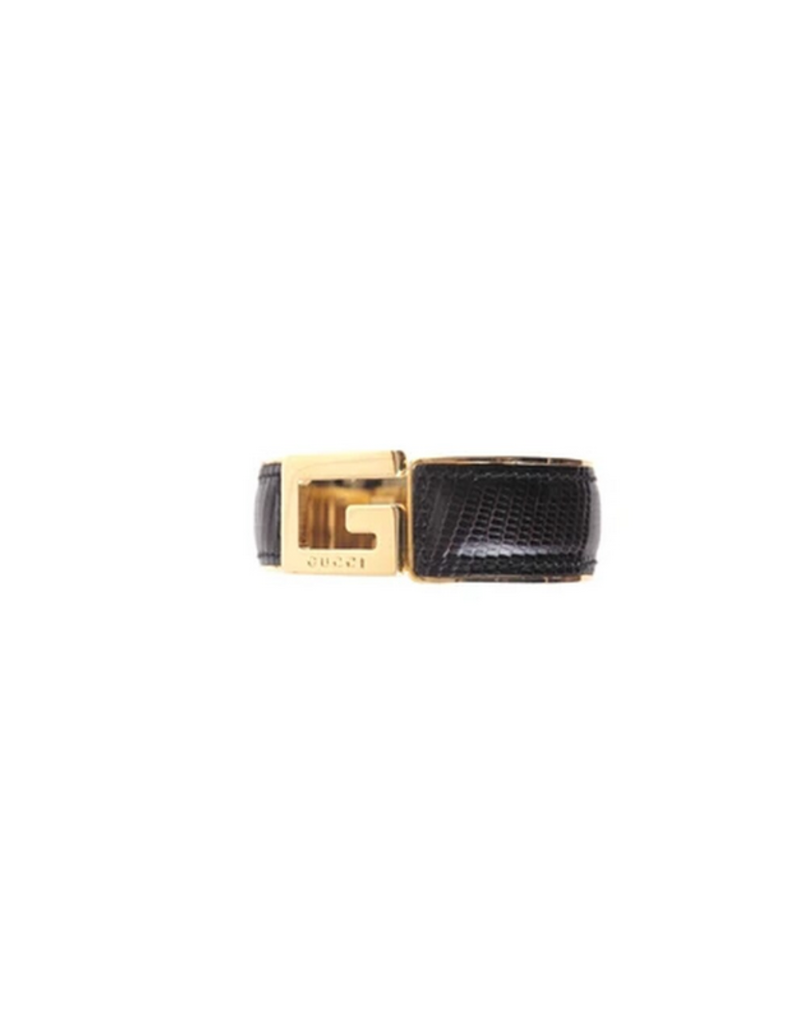 Gucci Gucci Black Lizard Logo Cuff