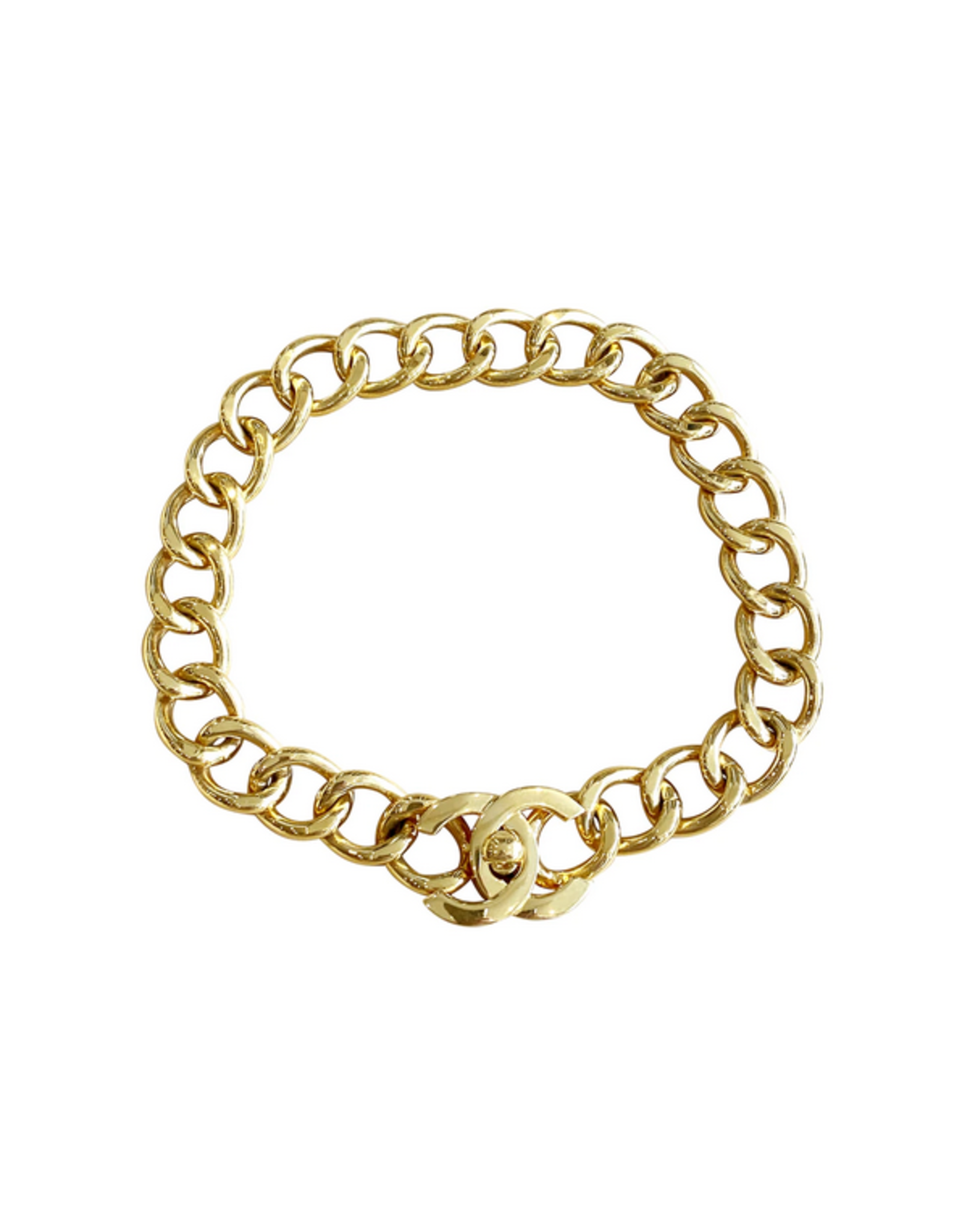 Chanel Chanel Turnlock Gold Chain Necklace (1995 Vintage)