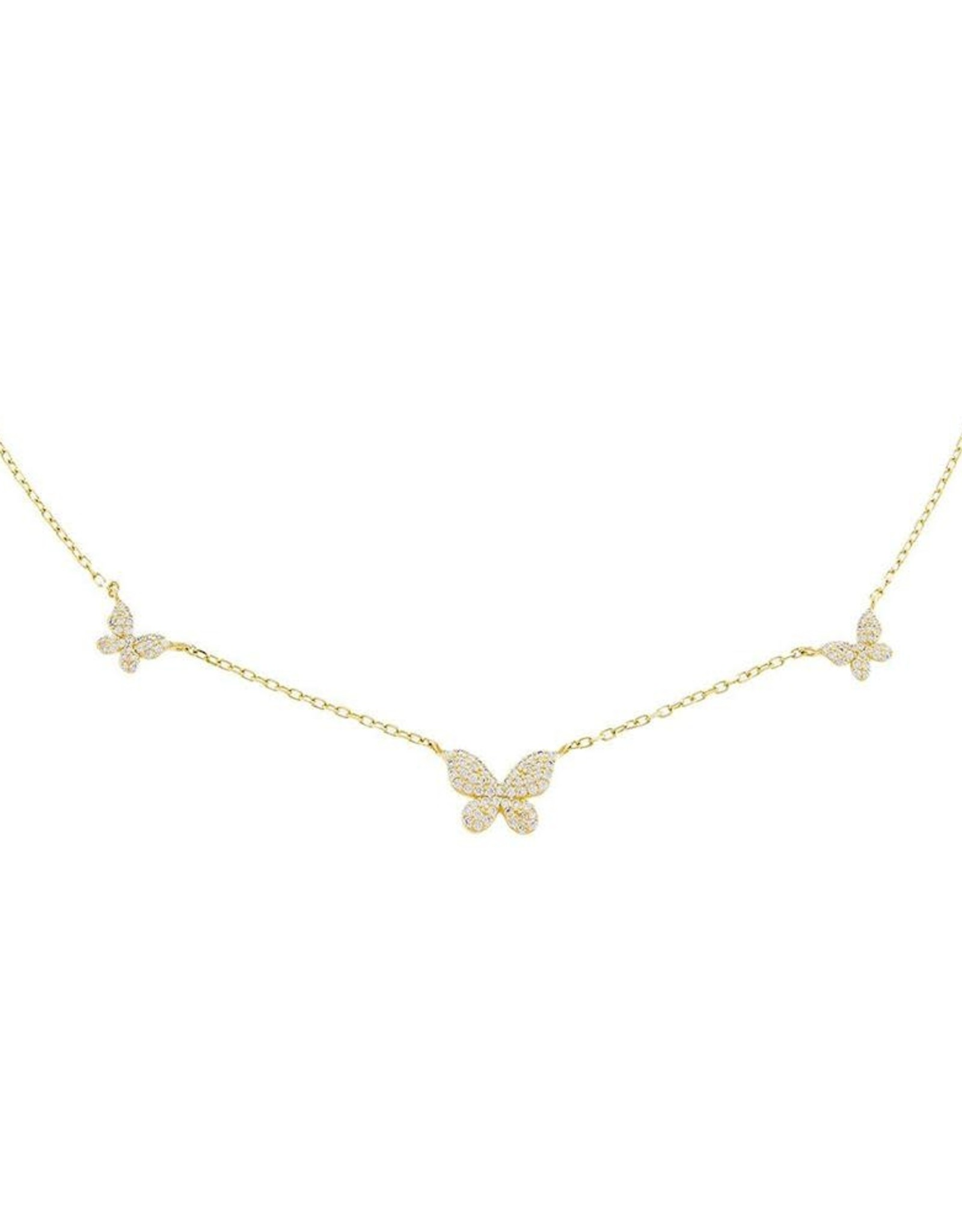 Adinas Pavé 5 Butterfly Necklace