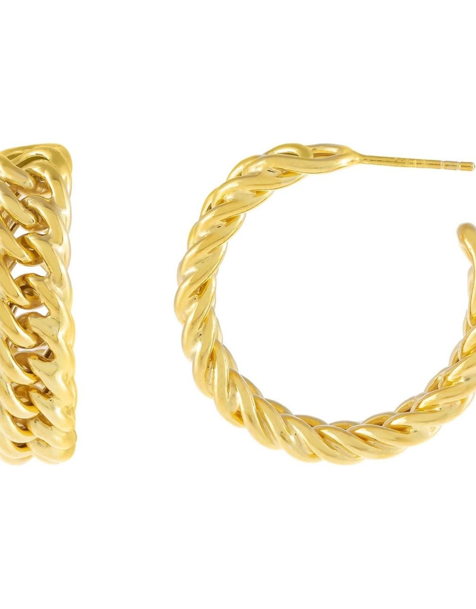 Adinas Chunky Double Curb Chain Hoop Earring