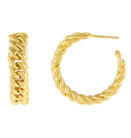 Adinas Chunky Double Curb Chain Hoop Earring