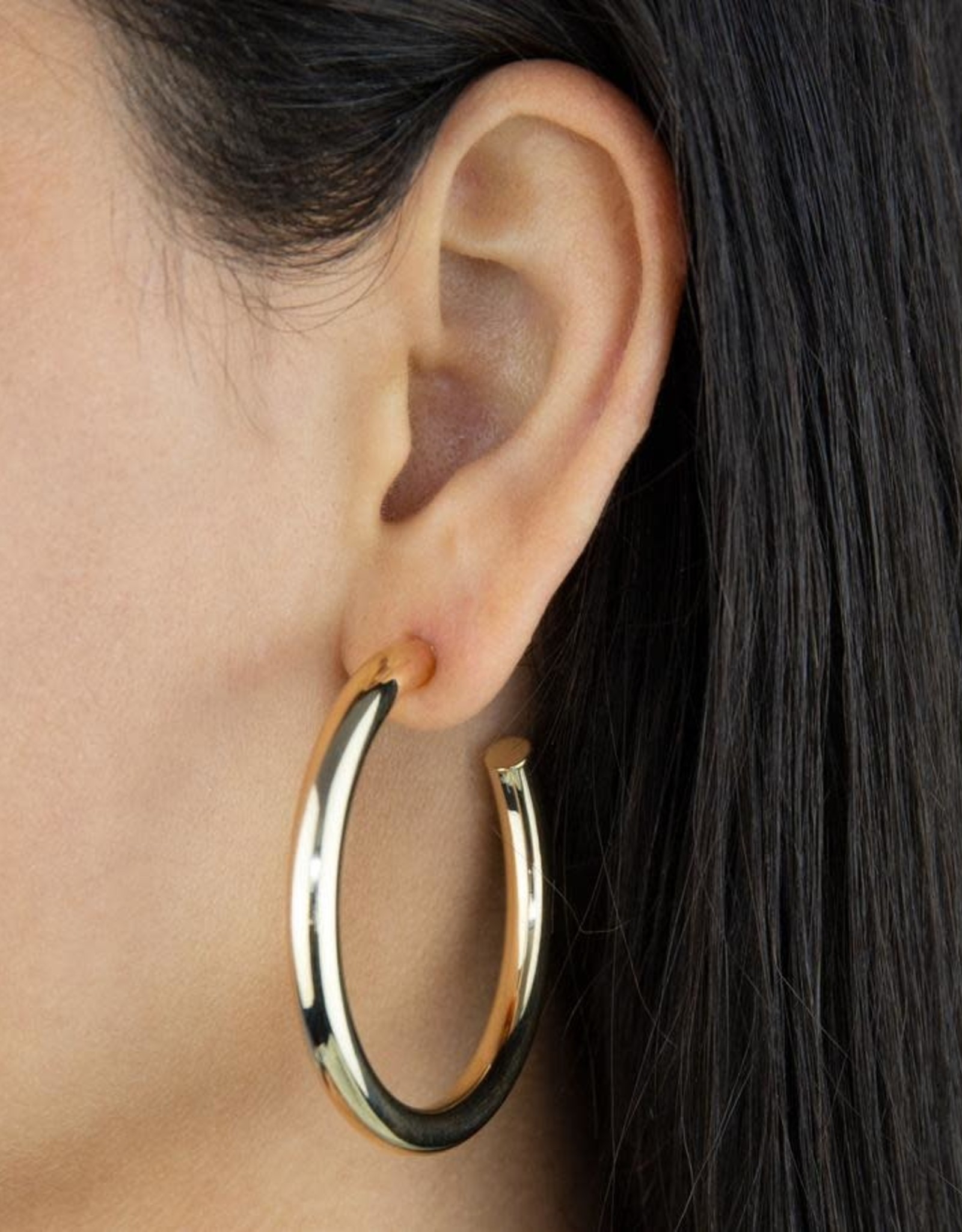 Adinas Large Hollow Hoop Earring