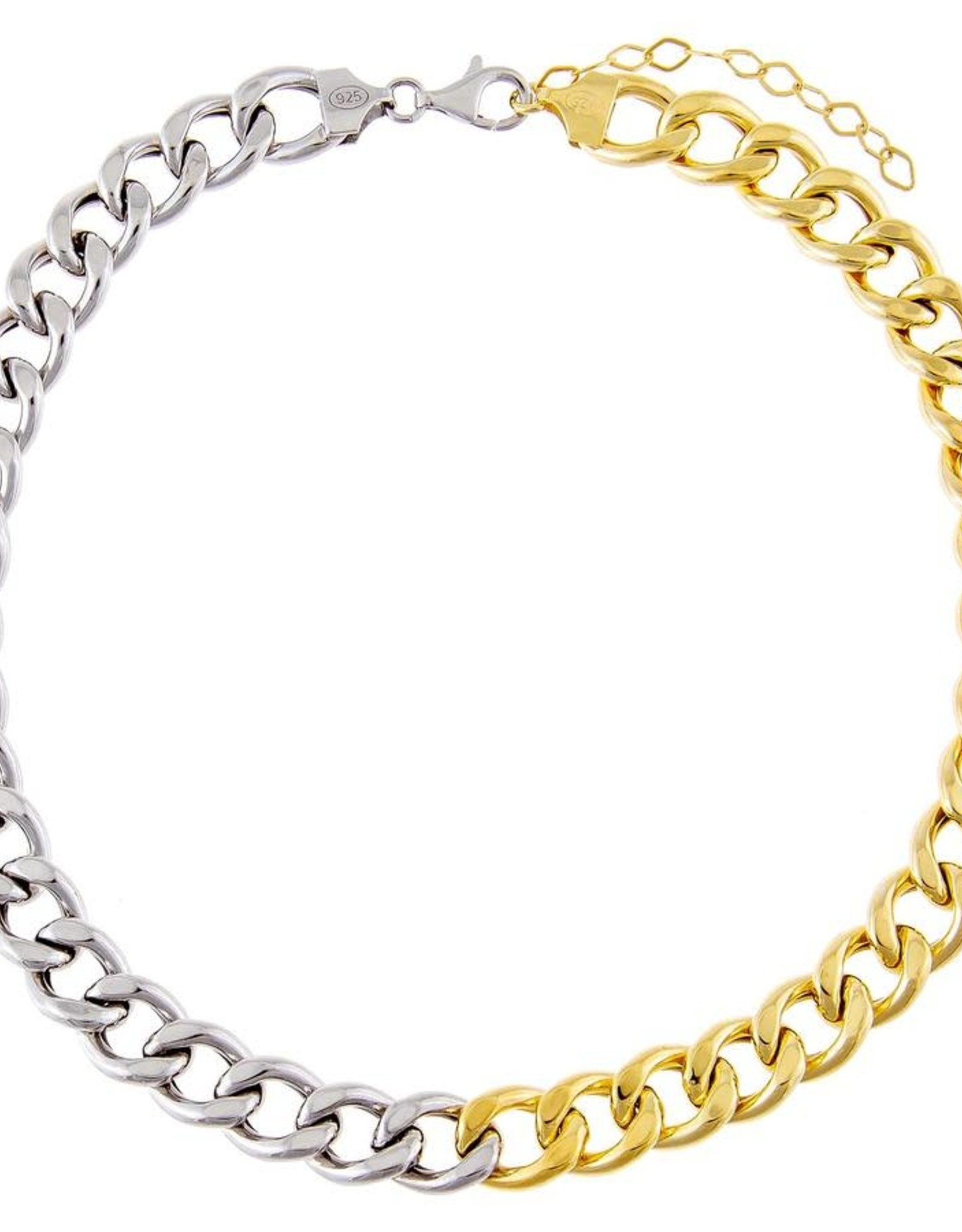 Adinas Two Tone Miami Curb Large Links Choker