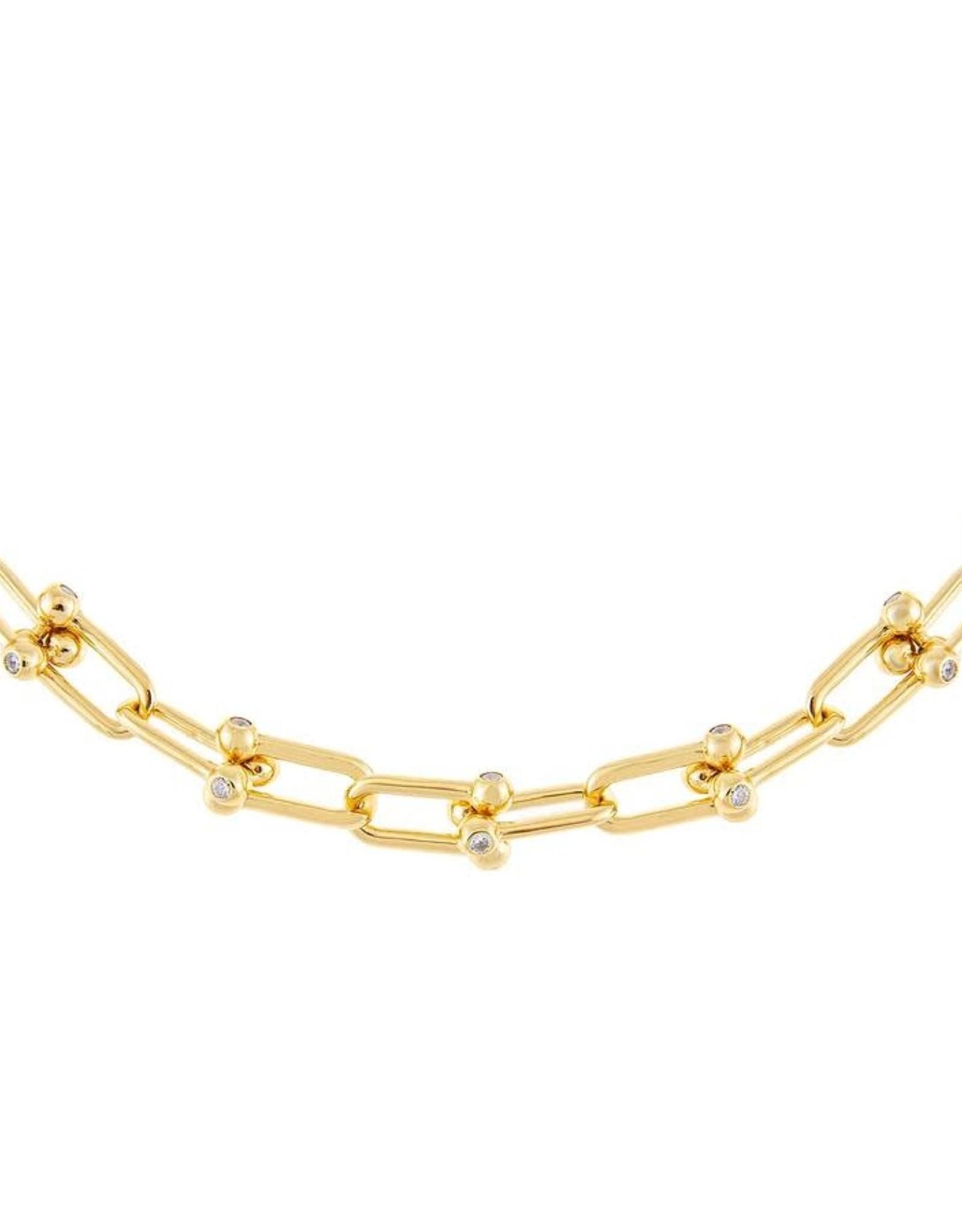 Adinas CZ U Chain Link Necklace