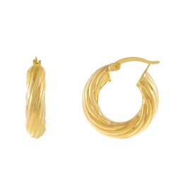 Adinas Chunky Hollow Twisted Hoop Earring 20mm