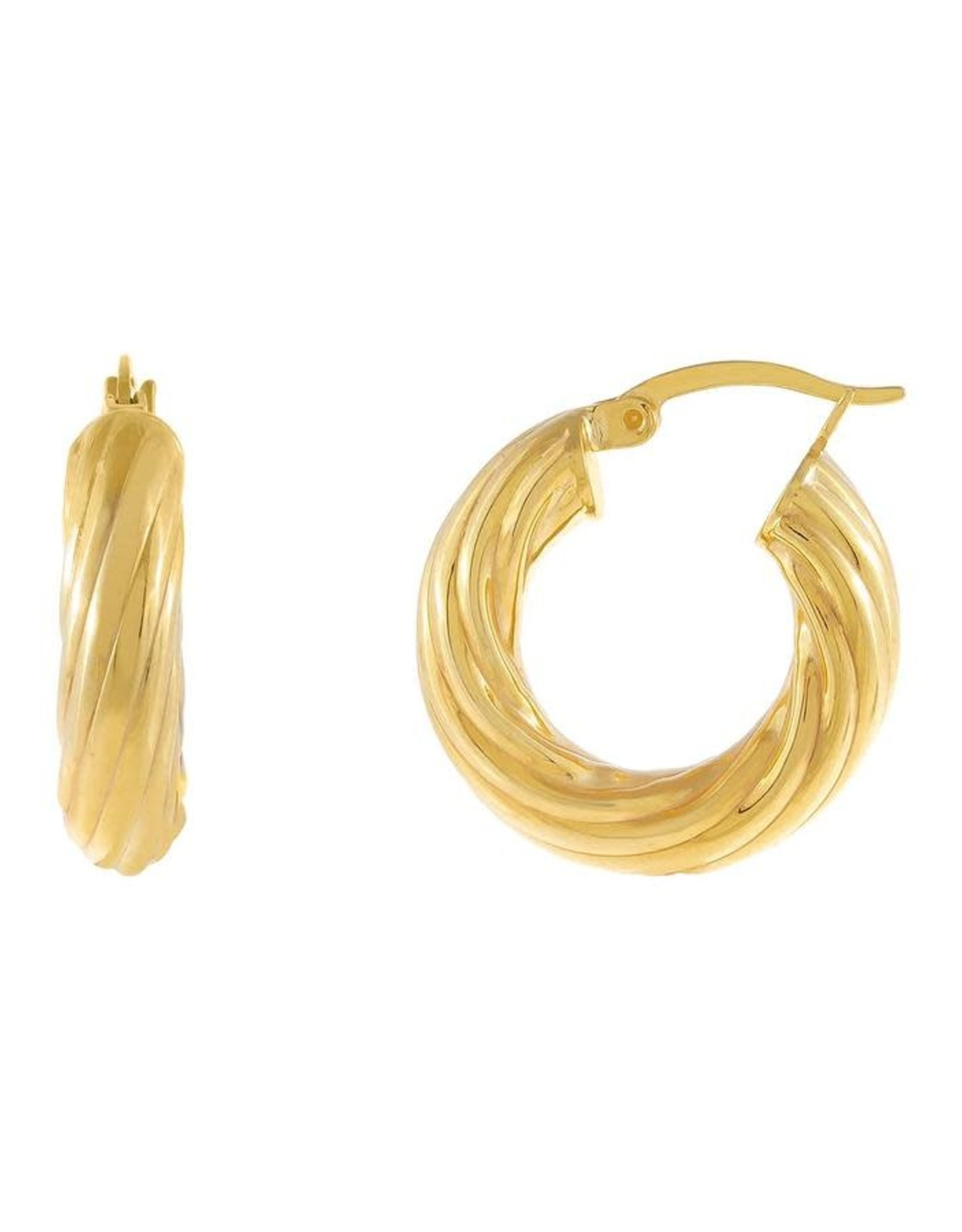 Adinas Chunky Hollow Twisted Hoop Earring 20mm