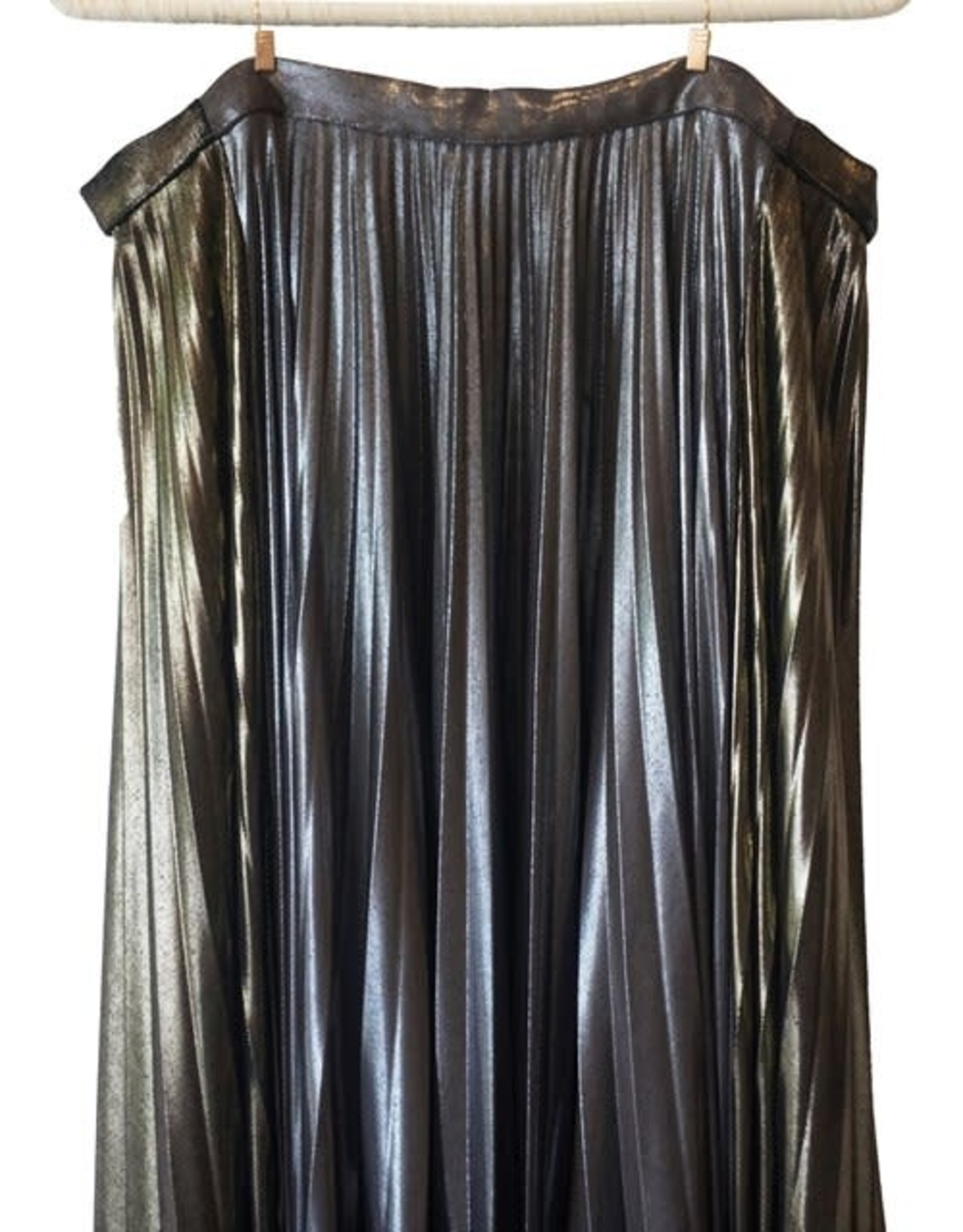 Wyld Blue Haider Ackermann Lame Pleated Wrap Skirt
