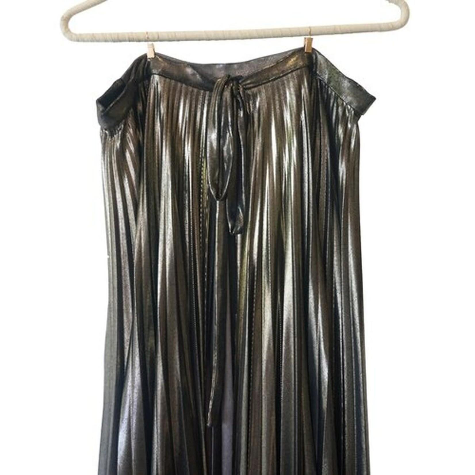 Wyld Blue Haider Ackermann Lame Pleated Wrap Skirt
