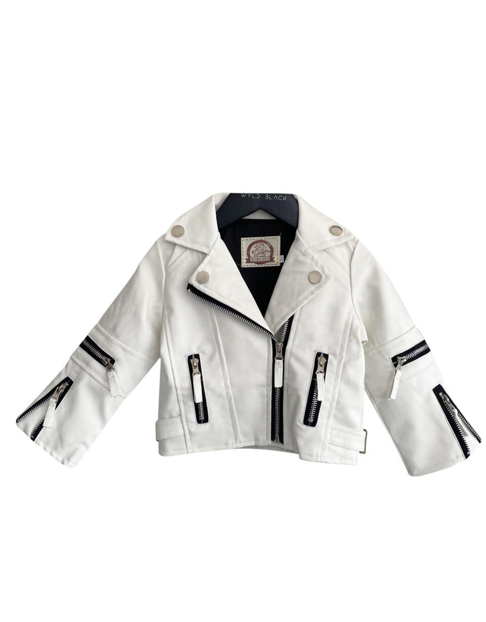 Wyld Blue White Leather Moto Jacket 3T