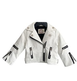 Wyld Blue White Leather Moto Jacket 3T