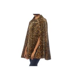 Wyld Blue Vintage Leopard Faux Fur Velvet Cape (1960s Vintage)