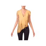 Wyld Blue Vintage Yellow Tan Beaded Fringe & Lace Suede Crop (1970s Vintage) - BHL6ON06