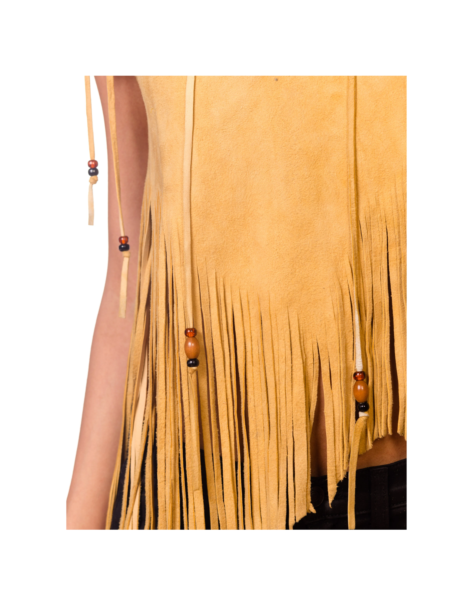 Wyld Blue Vintage Yellow Tan Beaded Fringe & Lace Suede Crop (1970s Vintage)