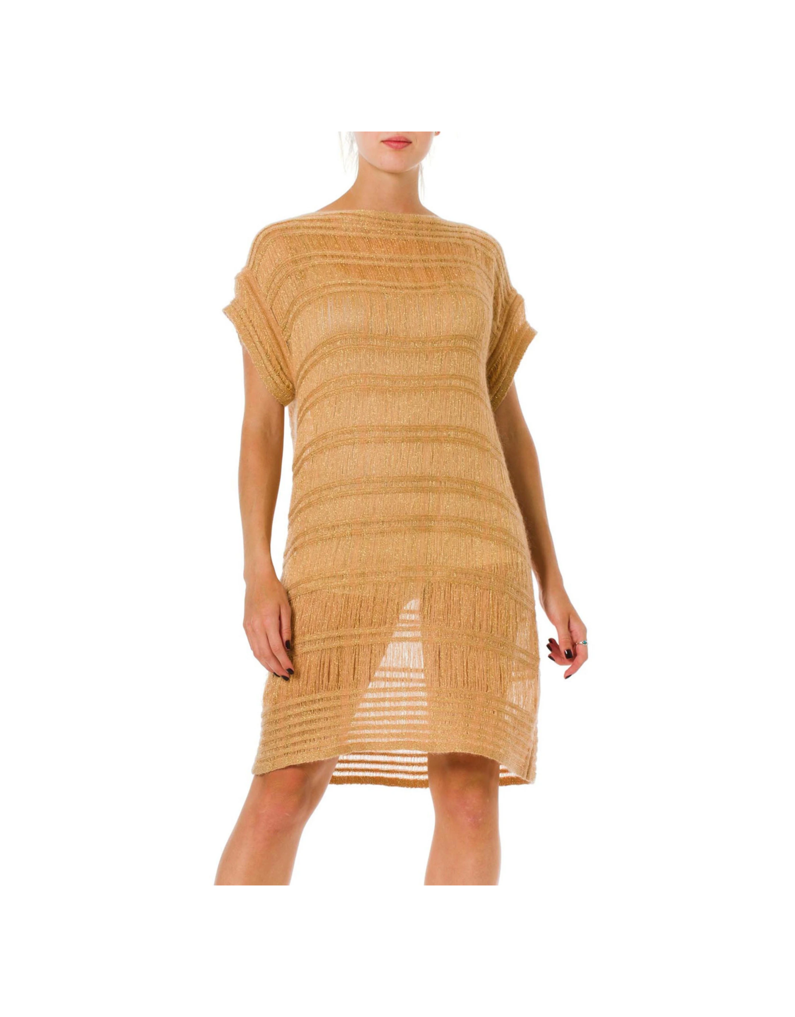 Wyld Blue Vintage Missoni Camel & Gold Knit Tunic Dress (2000s)