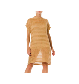 Wyld Blue Vintage Missoni Camel & Gold Knit Tunic Dress (2000s) - BHKCD3ON89