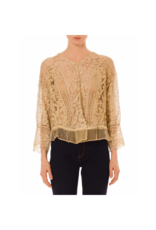 Wyld Blue Vintage Tan Cotton Exceptional Hand Made Antique Lace Blouse