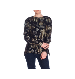 Wyld Blue Vintage Black & Gold Lamé Jacquard Blouse (1980s Vintage) T5ON0722