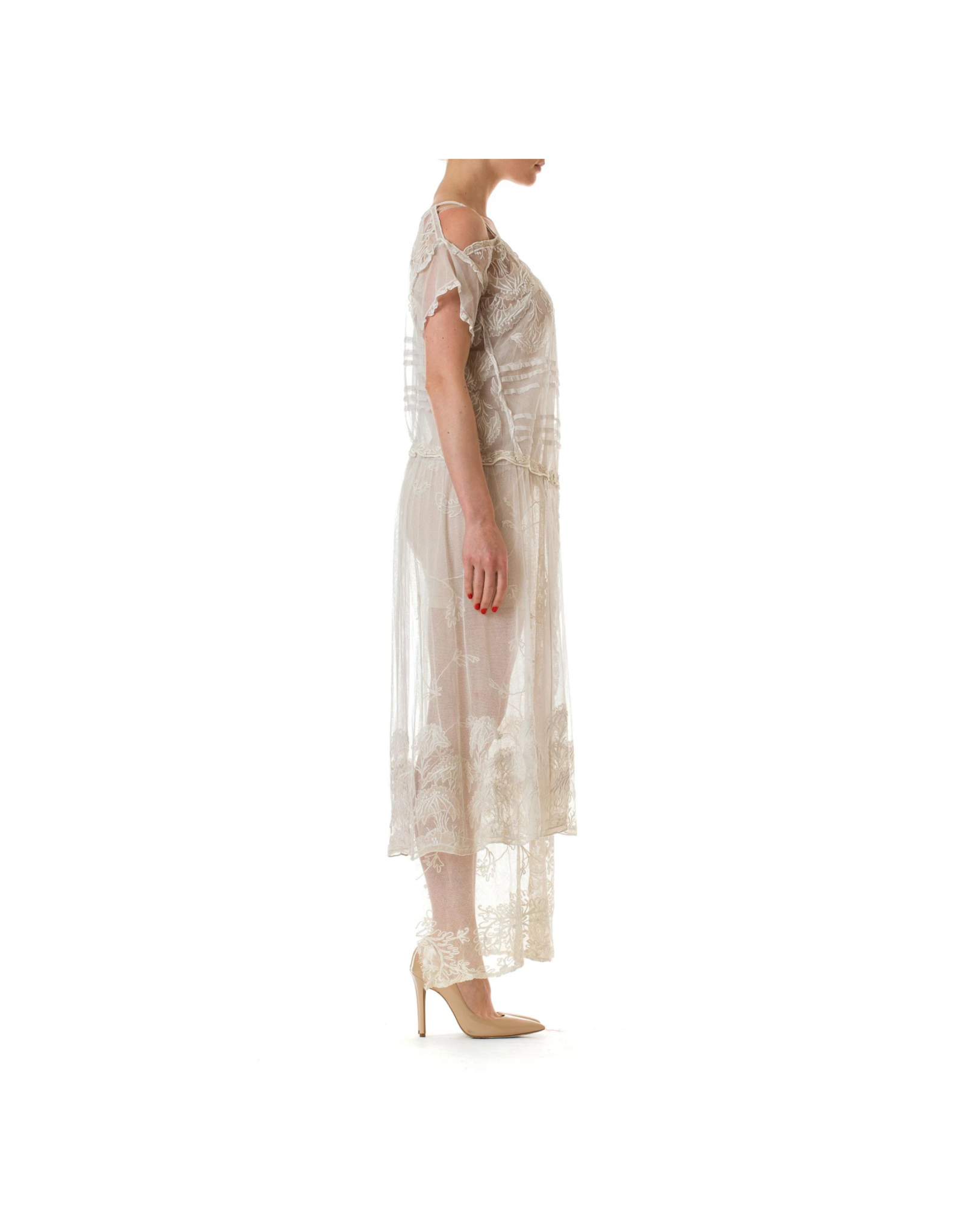 Wyld Blue Vintage Off White Cotton Embroidered Tulle & Lace Cold Shoulder Dress (Antique)