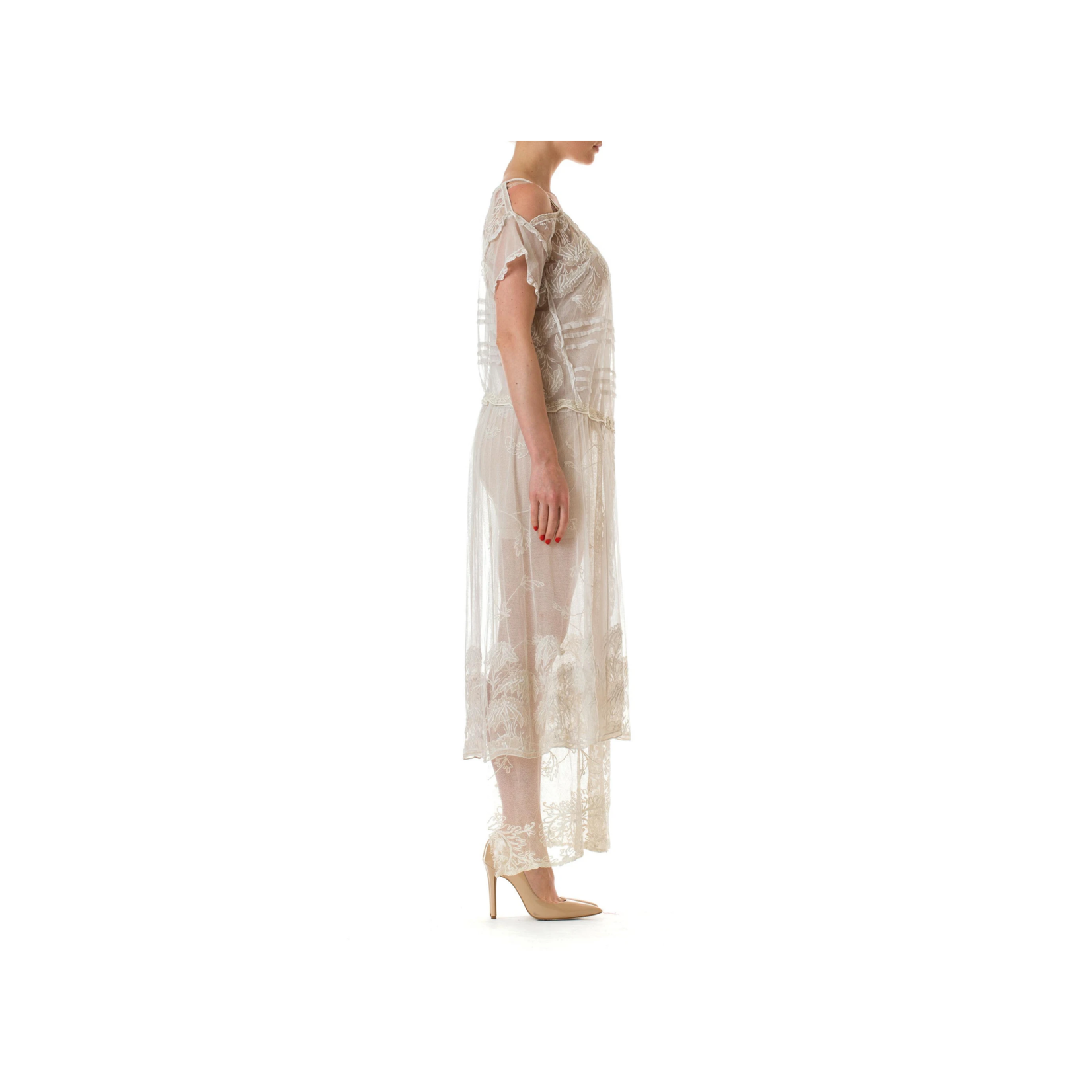 Wyld Blue Vintage Off White Cotton Embroidered Tulle & Lace Cold Shoulder Dress (Antique) LDVIC3ON361