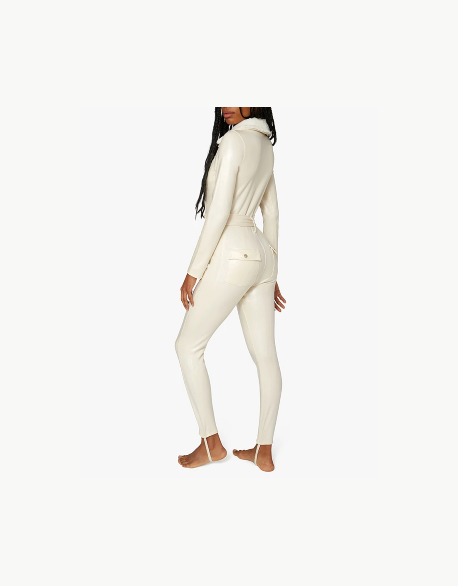 Shop WeWoreWhat Ski Suit with Fur Collar  - Ivory