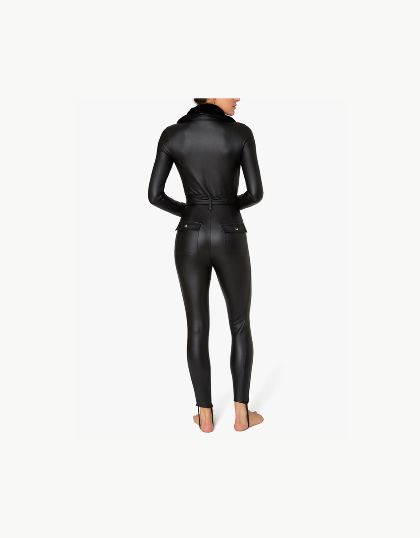 Shop WeWoreWhat Ski Suit with Fur Collar - Black