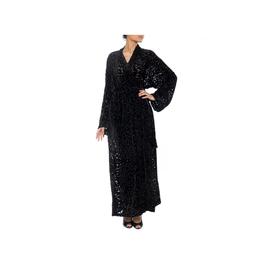 Wyld Blue Vintage Black Silk & Velvet Burnout Wrap Robe (1920s Vintage)