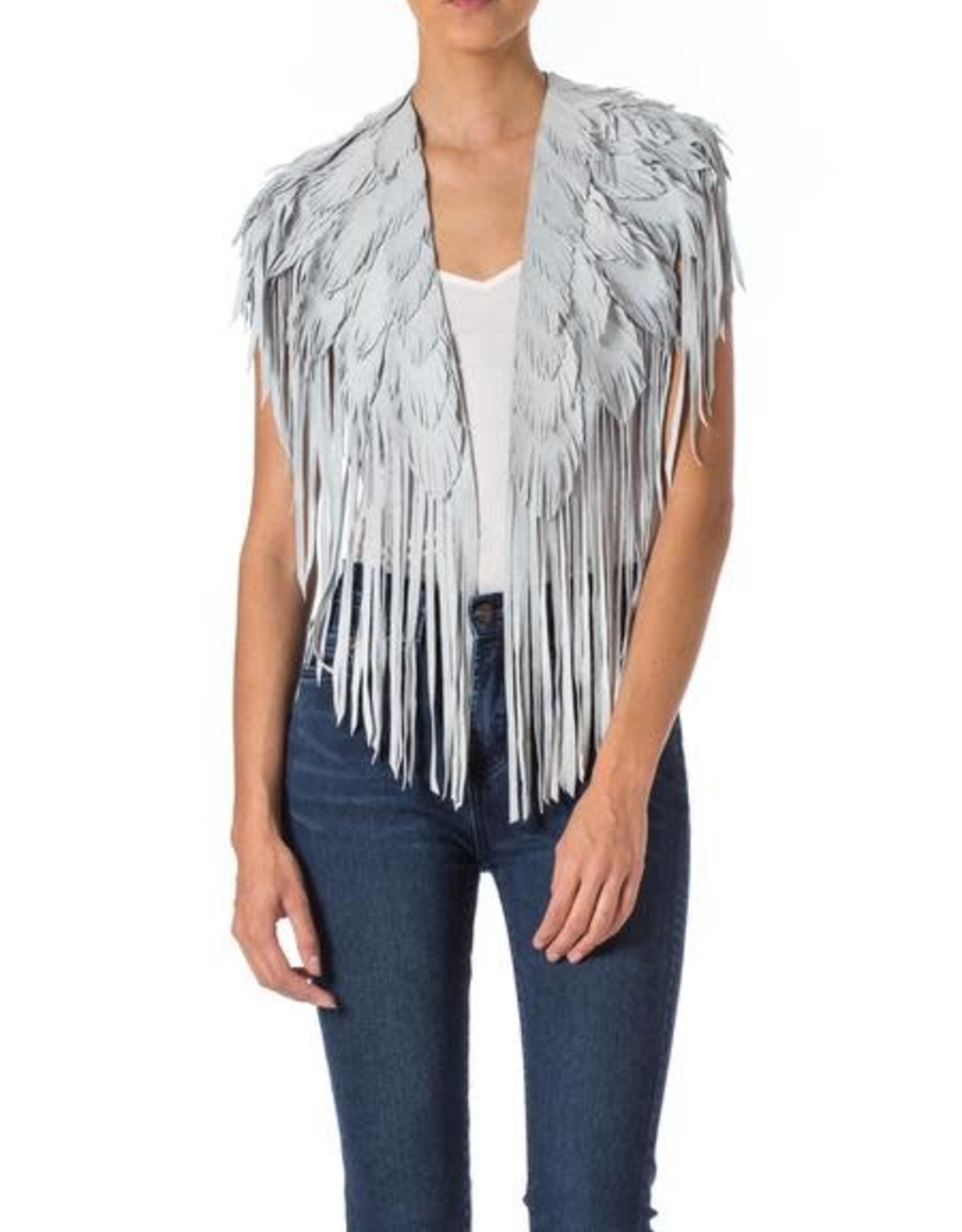 Wyld Blue Vintage Suede Feather Cape White (Vintage)