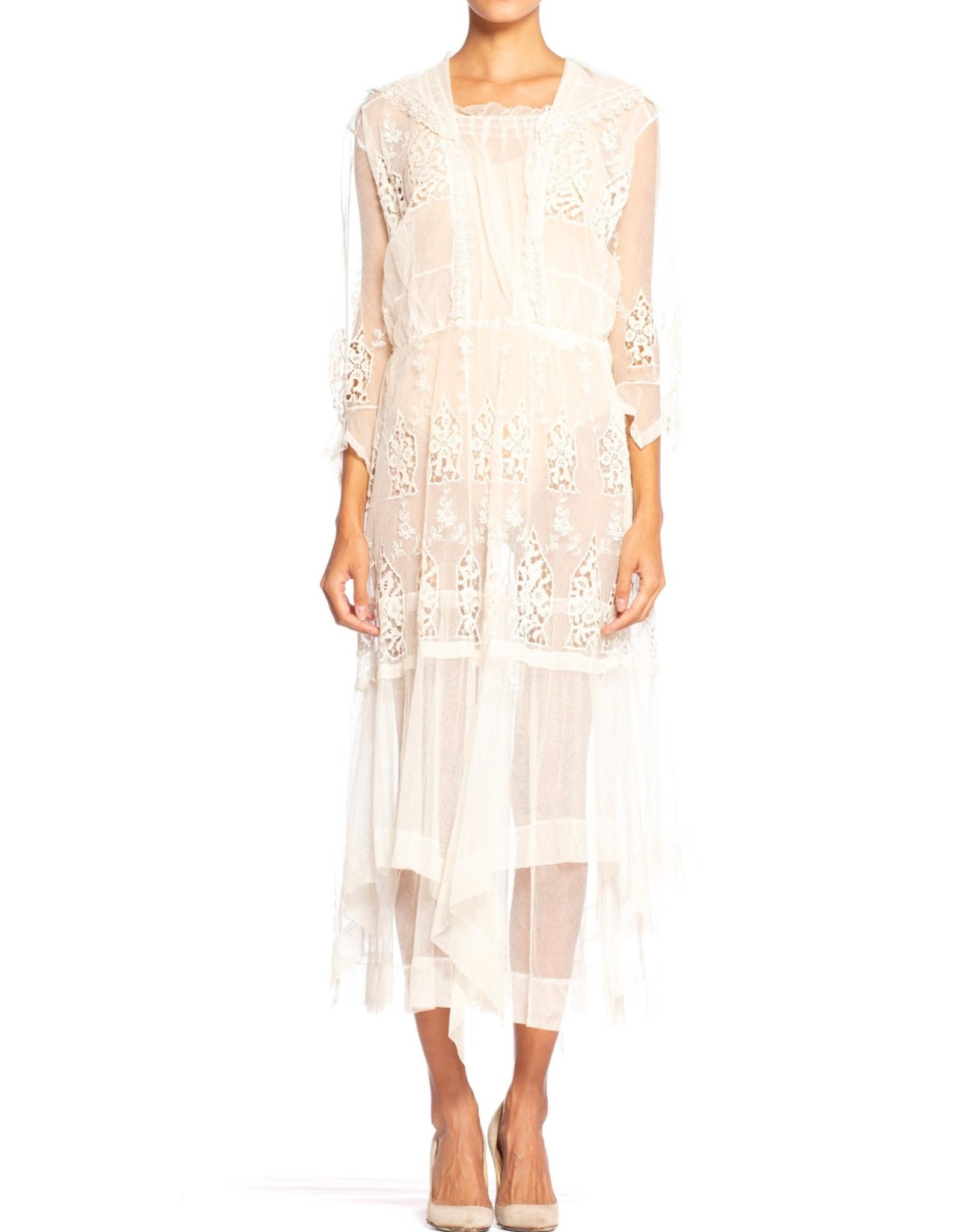 Wyld Blue Vintage Edwardian Cream Embroidered Tulle & Lace Dress with Sheer Sleeves (Antique)