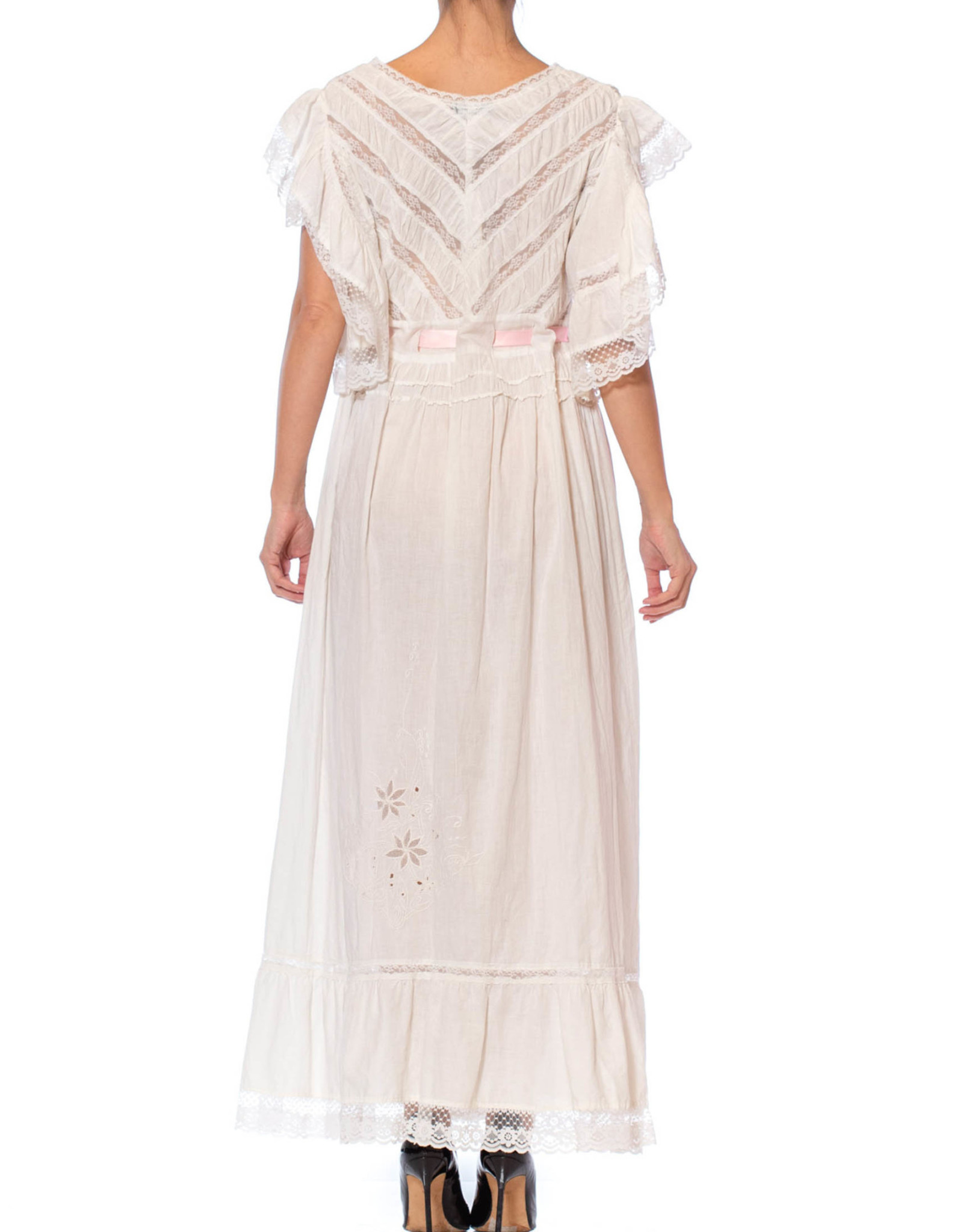 Wyld Blue Vintage Ivory Cotton Lace Victorian Revival Duster Dress (1970s Vintage)