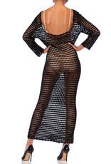 Wyld Blue Vintage Dolce & Gabbana Black Crochet Maxi Dress (1990s) BHKCD6ON0681