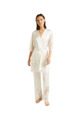 Ginia Blaise Silk Robe with Lace - Ivory