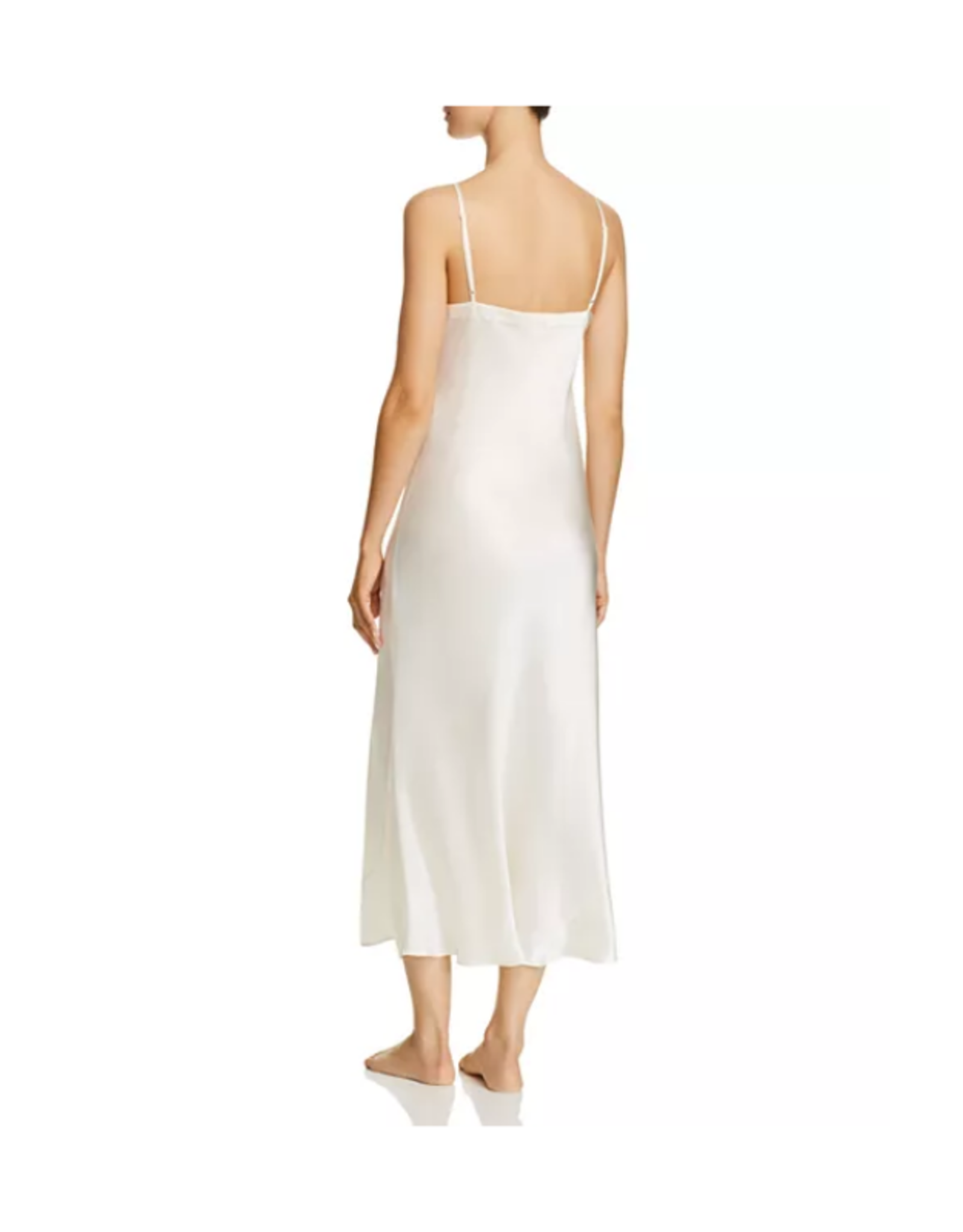 Ginia Silk V Neck Slip Dress - Creme