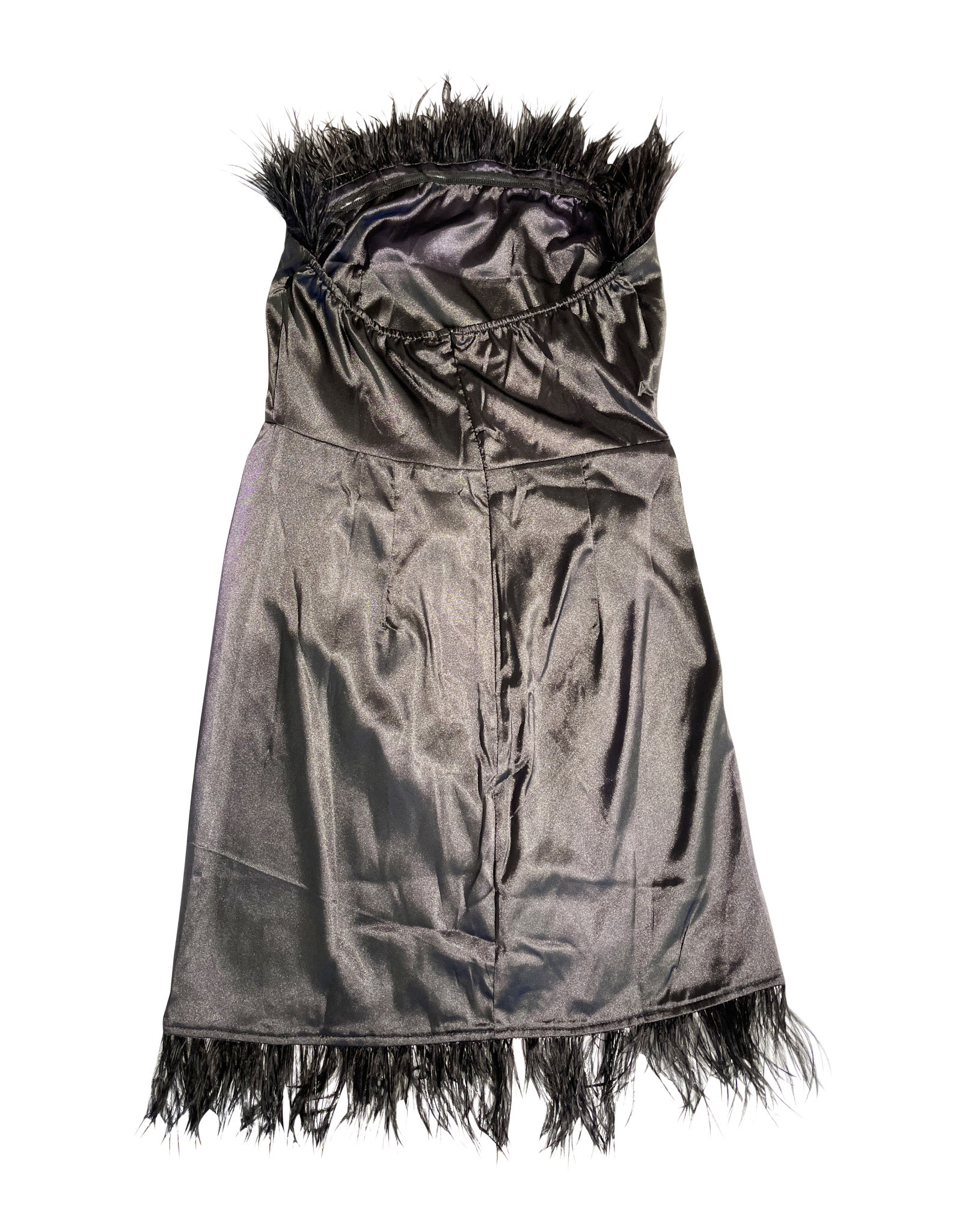 Wyld Blue Black Mini Feather Dress L