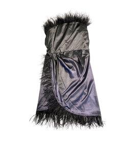 Wyld Blue Black Mini Feather Dress L