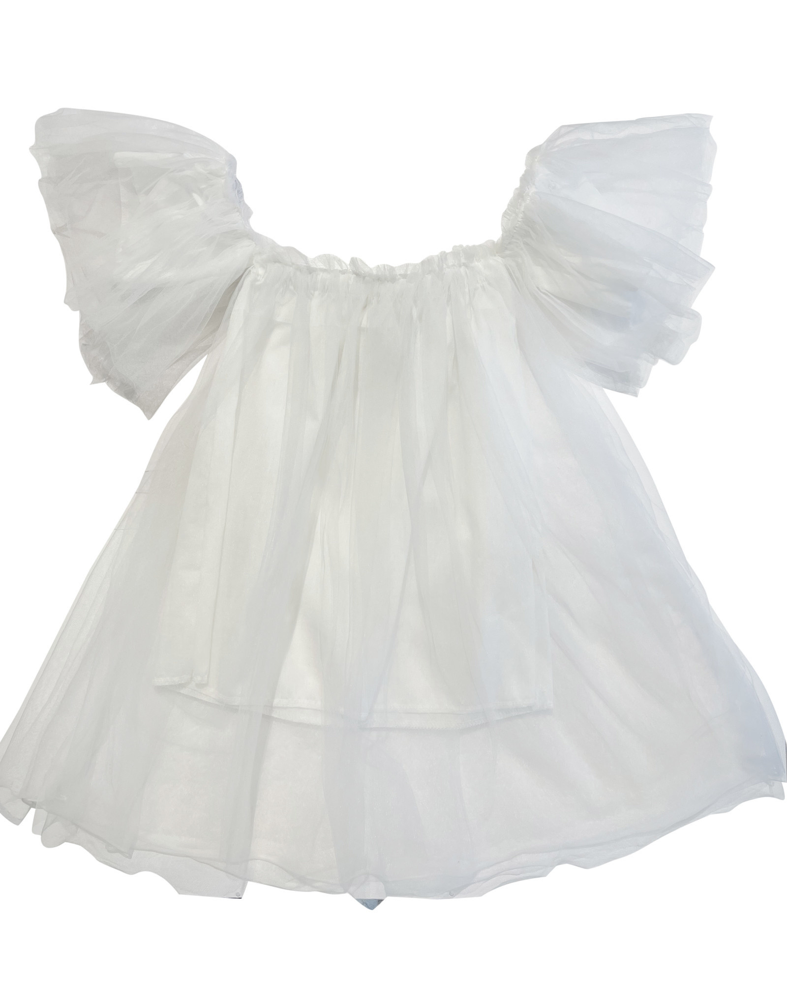 Wyld Blue Off the Shoulder Tutu Dress White