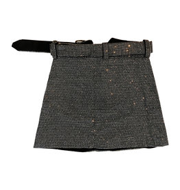 Wyld Blue Crystal Embellished Mini Skirt with Belt L