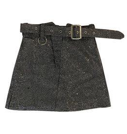 Wyld Blue Crystal Embellished Mini Skirt with Belt S