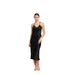 Ginia Silk V Neck Slip Dress - Black