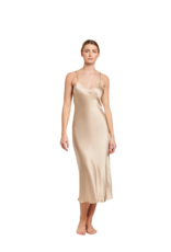 Ginia Silk V Neck Slip Dress - Mink