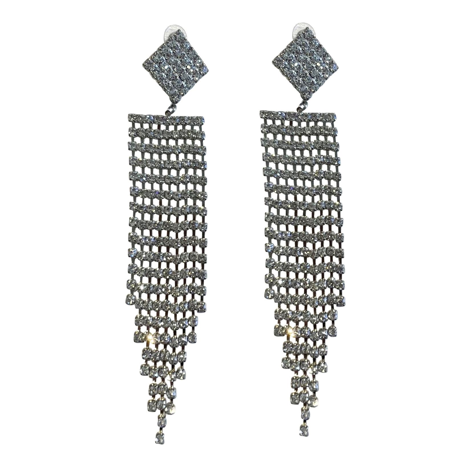 Wyld Blue Silver Diamond + Crystal Hanging Earring