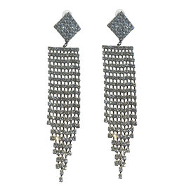 Wyld Blue Silver Diamond + Crystal Hanging Earring