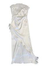 Wyld Blue White Midi Feather Dress L