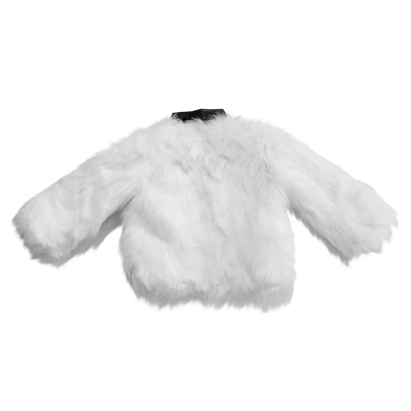 Wyld Blue White Fur Jacket Leather Collar 18M